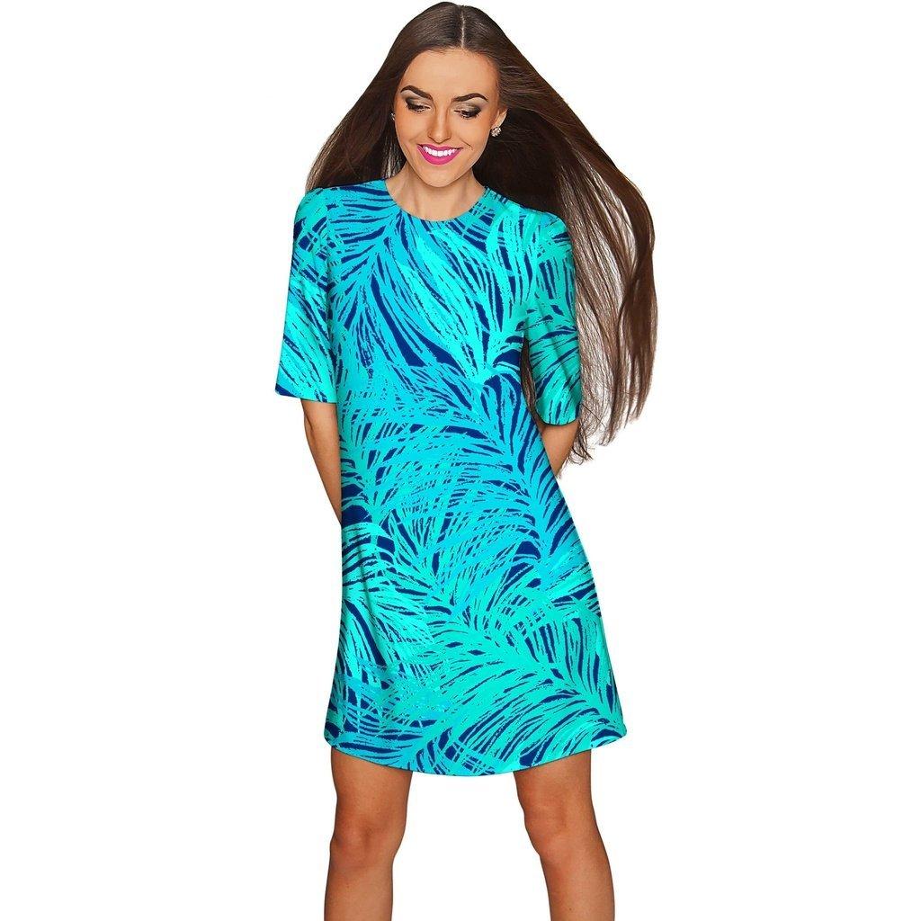 Derby Clothes Tropical Dream Grace Green Printed Shift Dress - Women