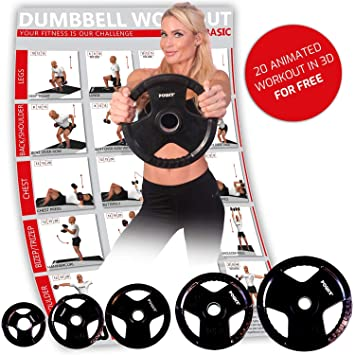 POWRX Olympia Pesas Hierro Fundido goma negro 2 unidades, para pesas de diámetro de 51 mm: Amazon.es: Deportes y aire libre