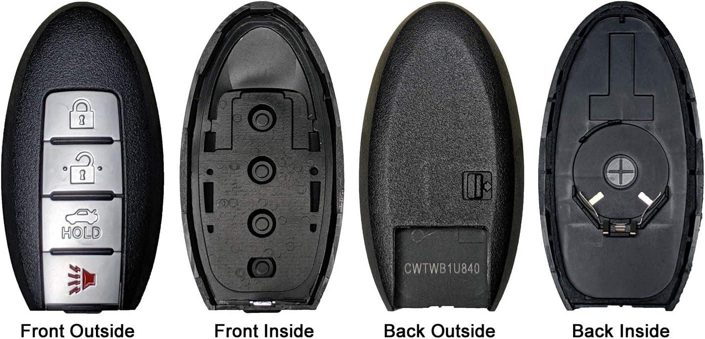 1 QualityKeylessPlus Replacement Remote Case 4 Button Pad for Nissan Smart Proximity Keyless Fob FCC CWTWB1U840