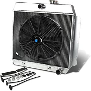 Replacement for Chevy V8 Conversion MT 3.5-3.9L Aluminum Racing 3-Row Radiator+16 inches Fan (Black)+Mounting Kit