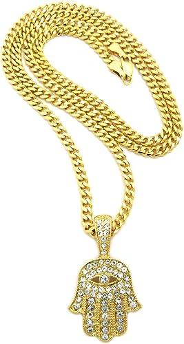 "Hip Hop Iced Hamsa Pendant 24/"" 3mm Cuban Link Chain 14k Gold plated"