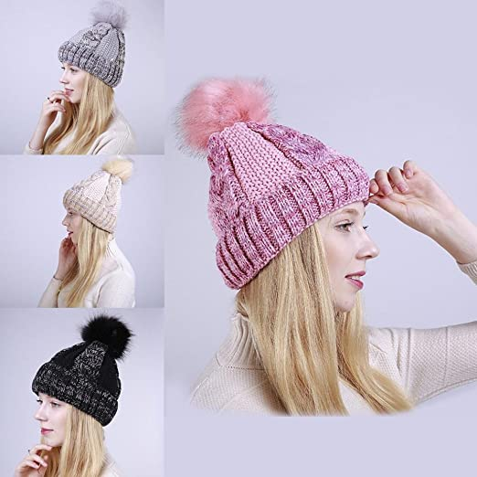 b52c11a07bb Amazon.com  ZX101 Knitted Slouchy Beanie Hat Women s Fashion Fluffy Ball Knitted  Beanie Warm Keeper Winter Ski Hat Cap (Rose Red)  Clothing