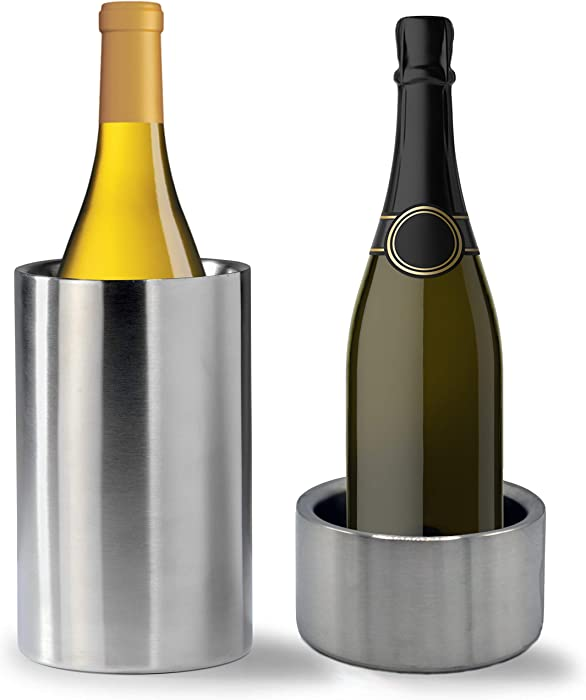 Tiger Chef Wine Bottle Chiller Cooler Set: Double Wall Stainless Steel Wine Cooler and Coaster Keep Wine at Perfect Temperature
