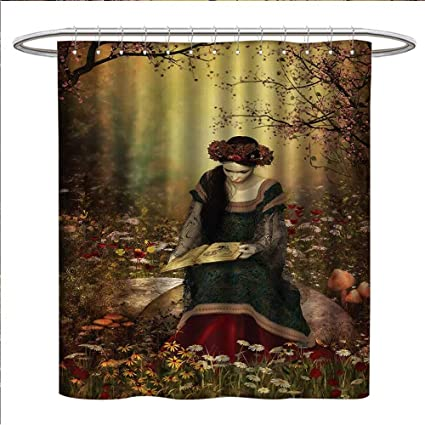 Anniutwo Medieval Shower Curtain Customized Lady Sitting On Stone And Reading Book Forest Flowers Grass Trees