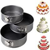 iPstyle 3pcs Nonstick Springform Cake Pan Cheesecake Pan Leakproof Cake Pan Bakeware Loose Base Cake Baking Tin Interlocking Bakeware (3pcs - 24/26/28cm CM (Round))