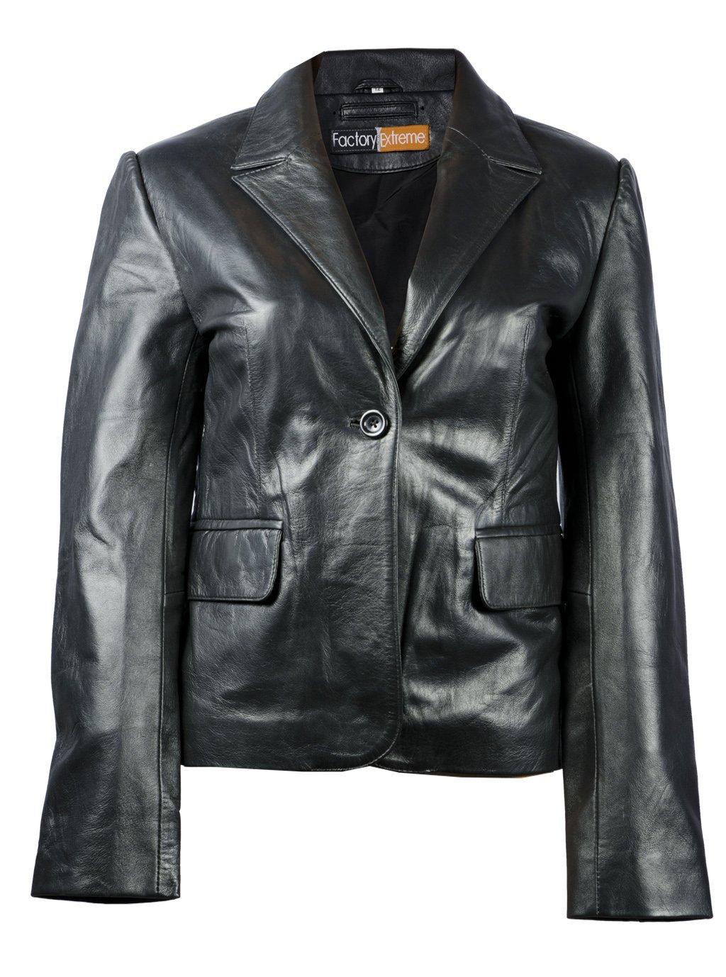 FactoryExtreme Four Seasons Classic Womens Black Leather Blazer, XXX-Large, Black