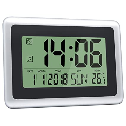 large office wall clocks. HeQiao Digital Wall Clocks Large Decorative Silent Desk Clock Battery Operated Easy To Read LCD Office
