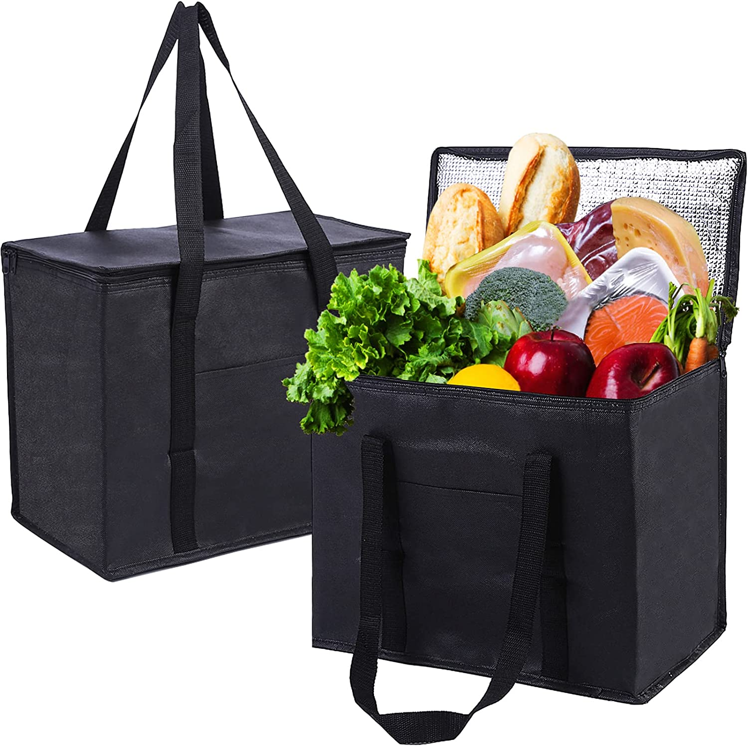 Insulated Bag for Food Delivery& Transport, Reusable Shopping Bags for Groceries Heavy Duty, X-Large Insulated Cooler Bag Produce Bag Collapsible with Strong Handle& Zipper