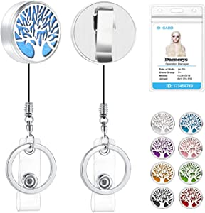 SAM & LORI Retractable Badge Holder with Alligator Clip Essential Oil Diffuser Aromatherapy Badge Reel Clip Heavy Duty ID RN Badge Holder for Nurse Teacher (Tree of Life)