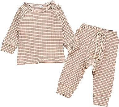DaMohony - Pijamas Algodón para Niños Niñas Ropa de Dormir de Dos Piezas Ropa Interior Cómodo de Rayas para Bebés Recién Nacidos de 0-18 Meses: Amazon.es: Ropa y accesorios
