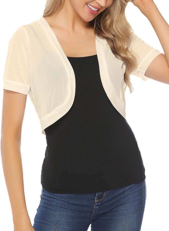 Aiboria Women Short Sleeve Sheer Chiffon Shrug Open Front Bolero Cardigan