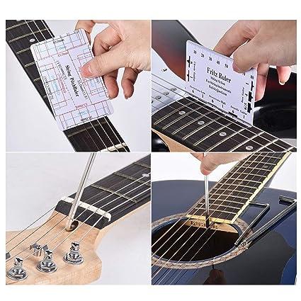 Qewmsg Professional Guitar Care Reparación de herramientas Reparación Mantenimiento Kit de herramientas Herramientas de reparación
