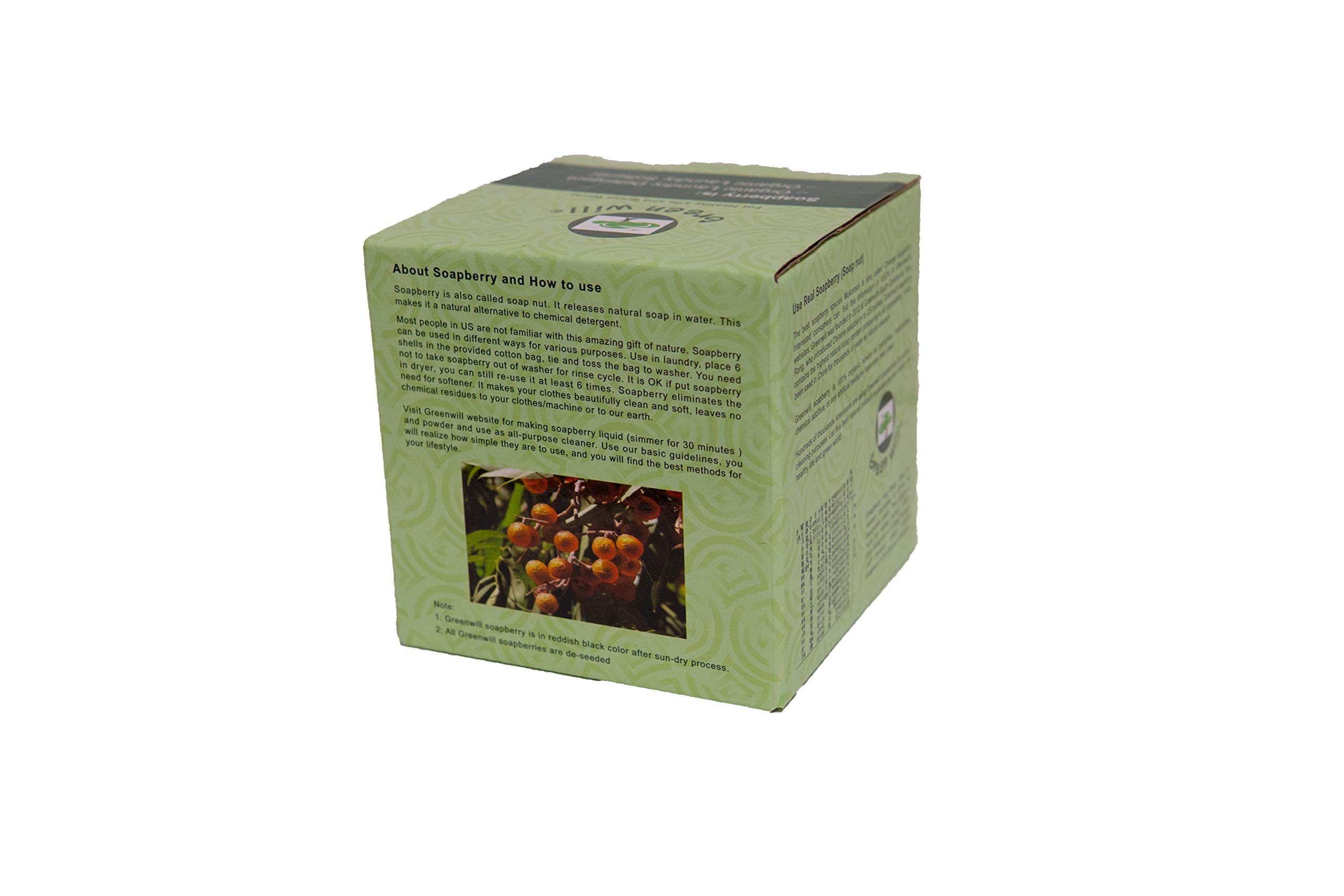 12 Ounces (0.75 lb) Greenwill Organic Soapberry / Soap Nuts with Wash Bag -- Use Real Soapberry!