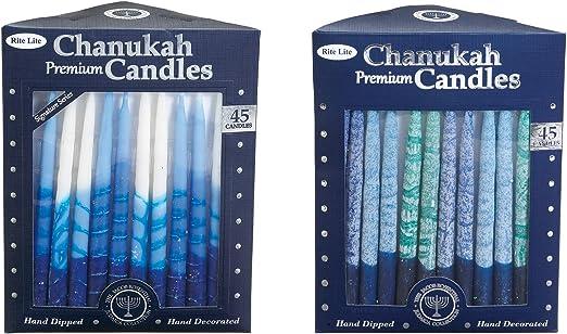 Hand Decorated Premium Blue and White Hanukkah Chanukah Candles 45 Candles per Box