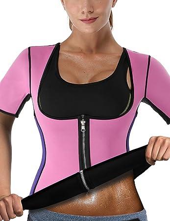 8d67ea2caa6f24 NonEcho Damen Sauna Body Shaper Sweat Suit Sleeve Spa Cami Hot ...
