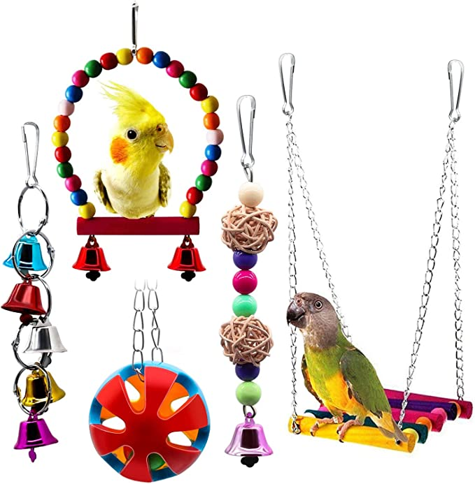 HEEPDD Stainless Steel Bell Parrot Toy Heavy Duty Bird Cage Swing Stand Toys Decoration for Small Birds Parakeets Cockatiels Conures Macaws Parrots Love Birds Finches