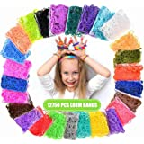 Loom Rubber Bands, 12750pcs Rainbow Rubber Band Refill Kit in 26 Colors with 500 Clips 6 Hooks, Rainbow Rubber Bands DIY…