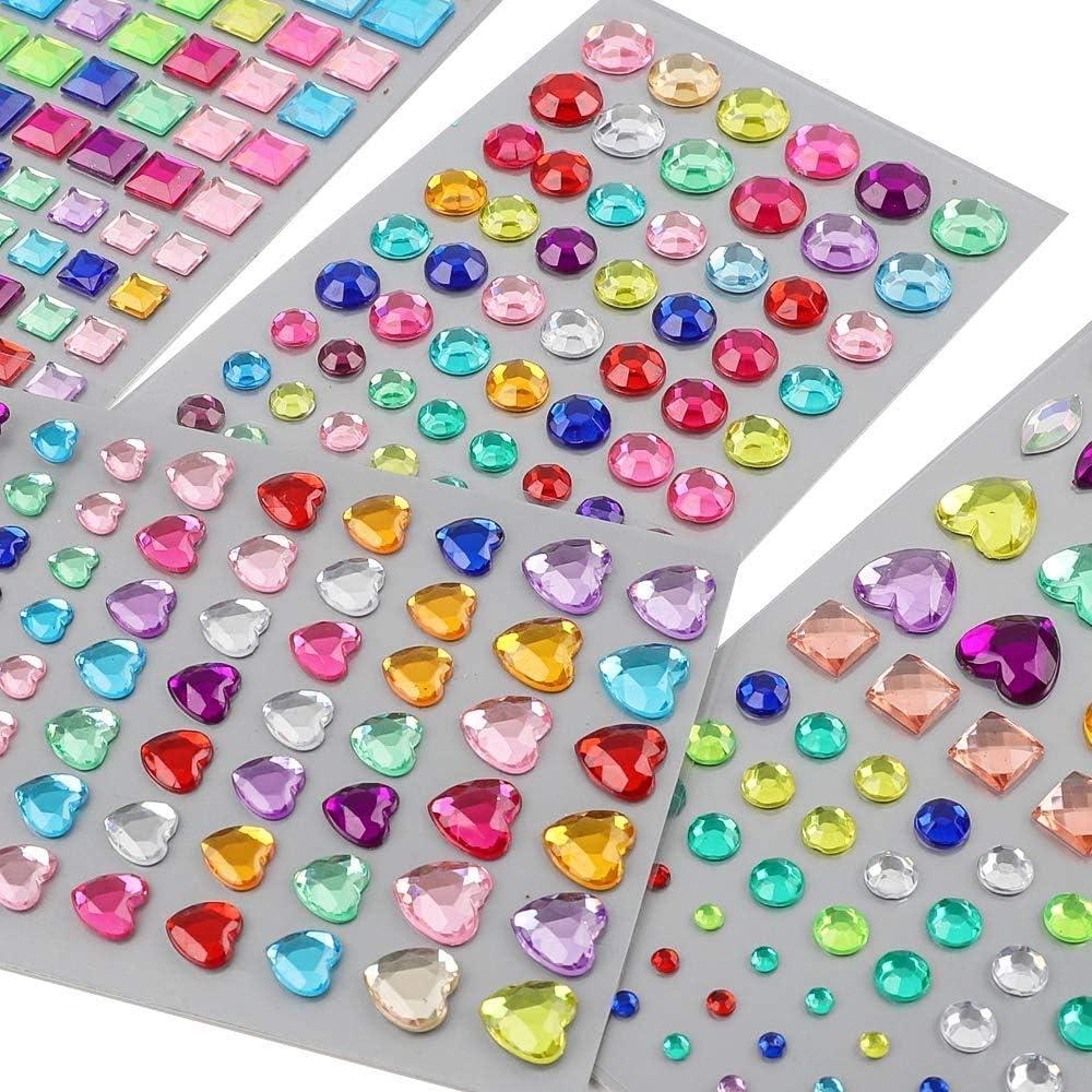 YIQIHAI 14 Sheets 1176pcs Rhinestone Stickers Self Adhesive Jewels Stickers Bling Crystal Gems Flatback Rhinestone for DIY Craft, Assorted Size, Muticolor