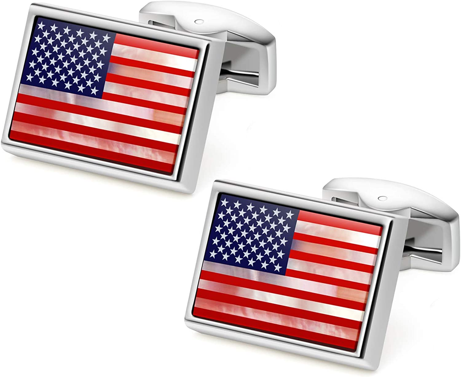 VIILOCK American Flag Cufflinks for Men Mother of Pearl The Stars and Stripes Cuff Links Business Gift
