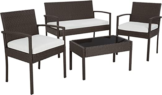 TecTake Salon de jardin Table de jardin en resine tressee chaises salon  d\'exterieur poly rotin - diverses couleurs au choix - (Antique Brown   No.  ...