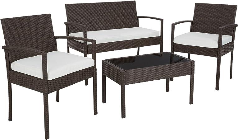 TecTake Conjunto muebles de Jardín en Poly Ratan Sintetico - negro 4 plazas, 2 sillones, 1 mesa baja, 1 banco - disponible en diferentes colores - (Brown antiguo | No. 402113): Amazon.es: Hogar