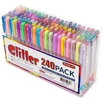 240 Pack Glitter Gel Pens, Shuttle Art 120 Colors Glitter Gel Pen Set with 120 Refills for Adult Coloring Books Craft Doodling