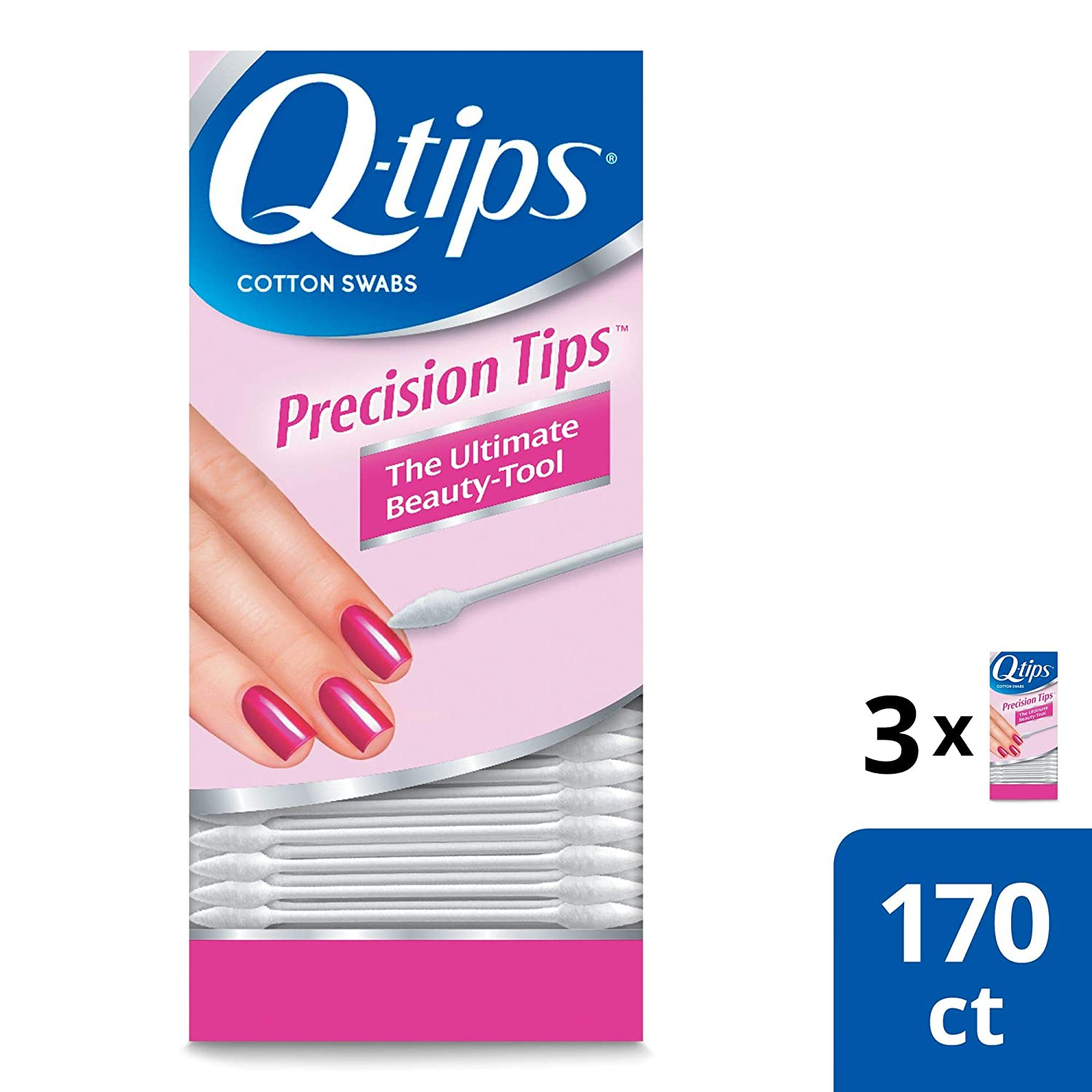 Q-tips Cotton Swabs, Precision Tip, 170 Count per Pack (Pack of 3)
