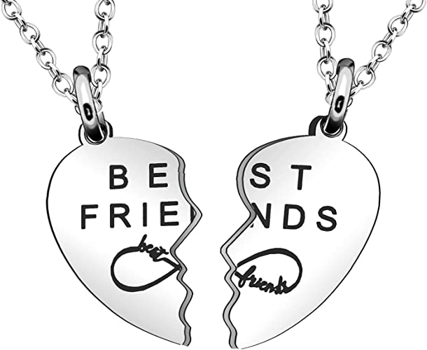 Maxforever Friendship Gift Selection Best Friends Forever Two Split Heart Crystal Pendant Necklaces Set Silver//Pink