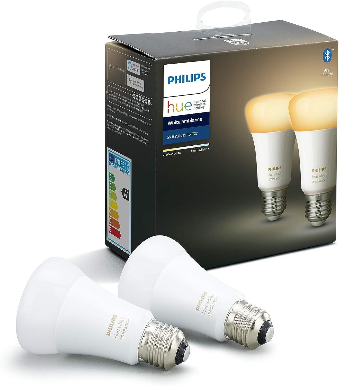 Philips Hue Pack de 2 Bombillas Inteligentes LED E27, con Bluetooth, Luz Blanca de Cálida a Fría, Compatible con Alexa y Google Home