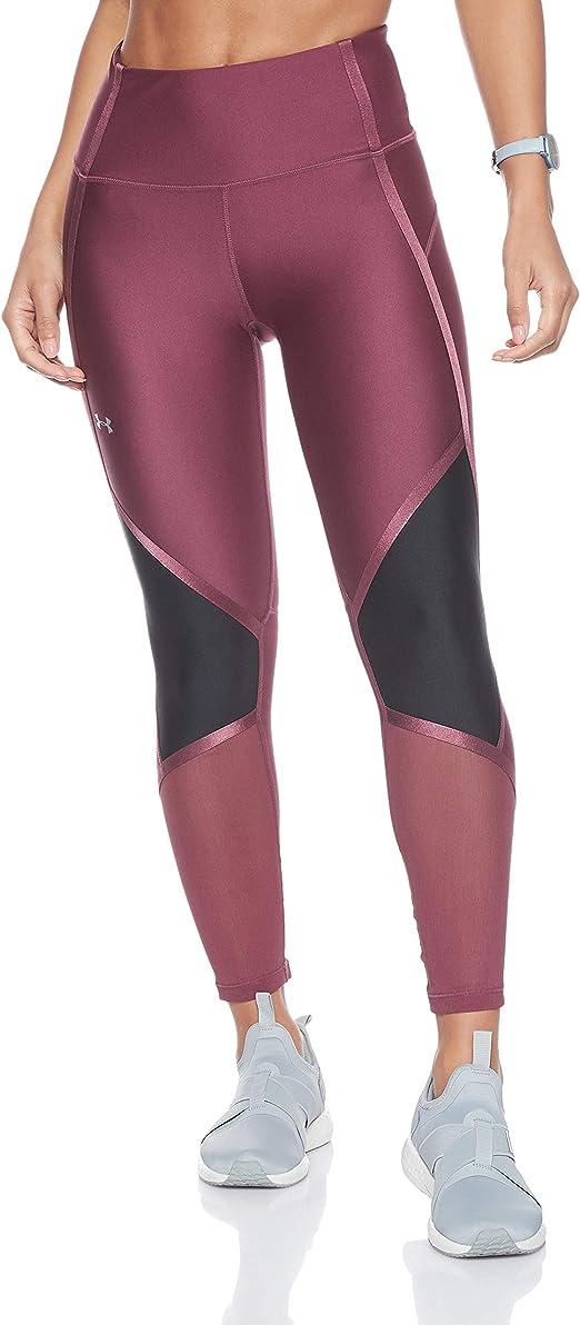 Under Armour Women's HeatGear Armour High Waisted Shine Ankle Crop, Level Purple (569)/Metallic Silver, X-Small