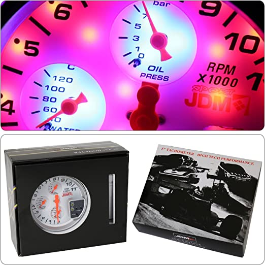 Jinyi 5 JDM White 4 in 1 11K Tachometer RPM Oil//Water Gauge for 12V Power Source Only