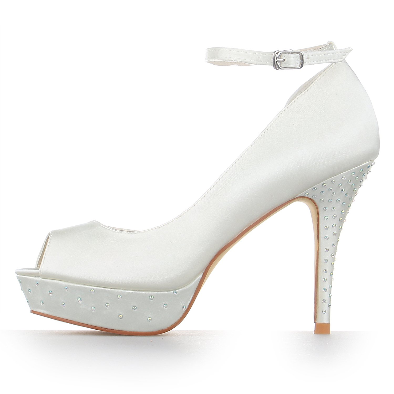 JIA JIA Damen Brautschuhe 1298 Peep Toe Hochzeitsschuhe High Heels Satin-Plattform-Pumpen Strass Hochzeitsschuhe Toe Elfenbein 02c5a5