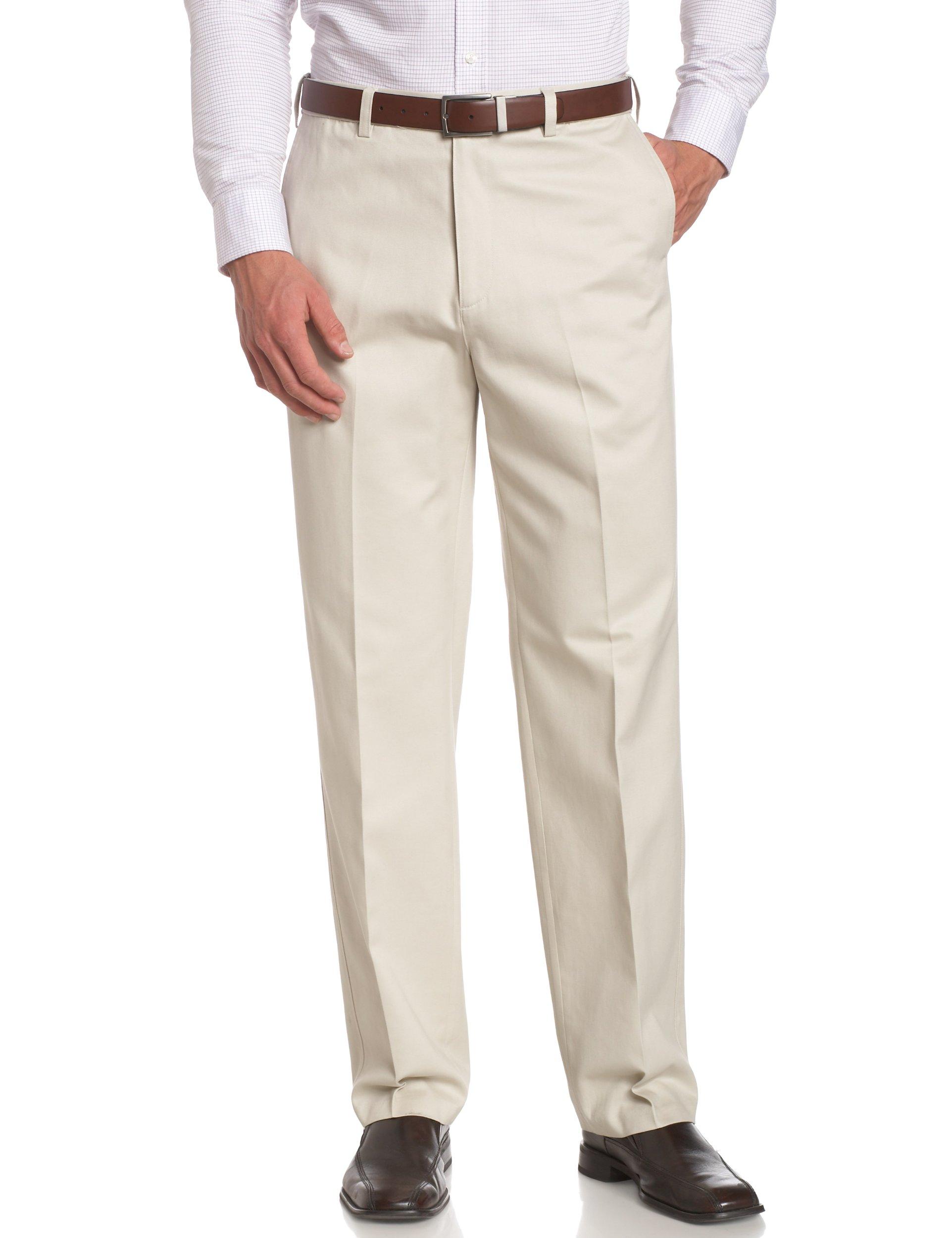 Savane Men's Big & Tall Wrinkle Free Flat Front Twill Pant,Alabaster,50W 34L