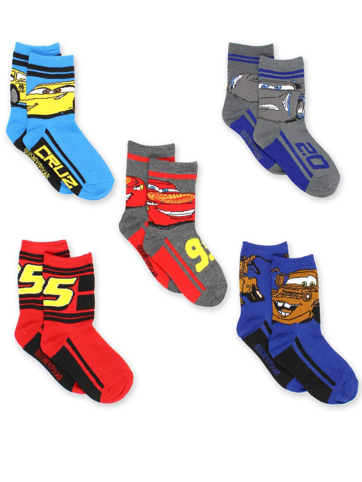 Disney Cars 3 Boys Toddler 5 pack Crew Socks (4-6 Toddler (Shoe: 7-10), Grey/Multi Crew)