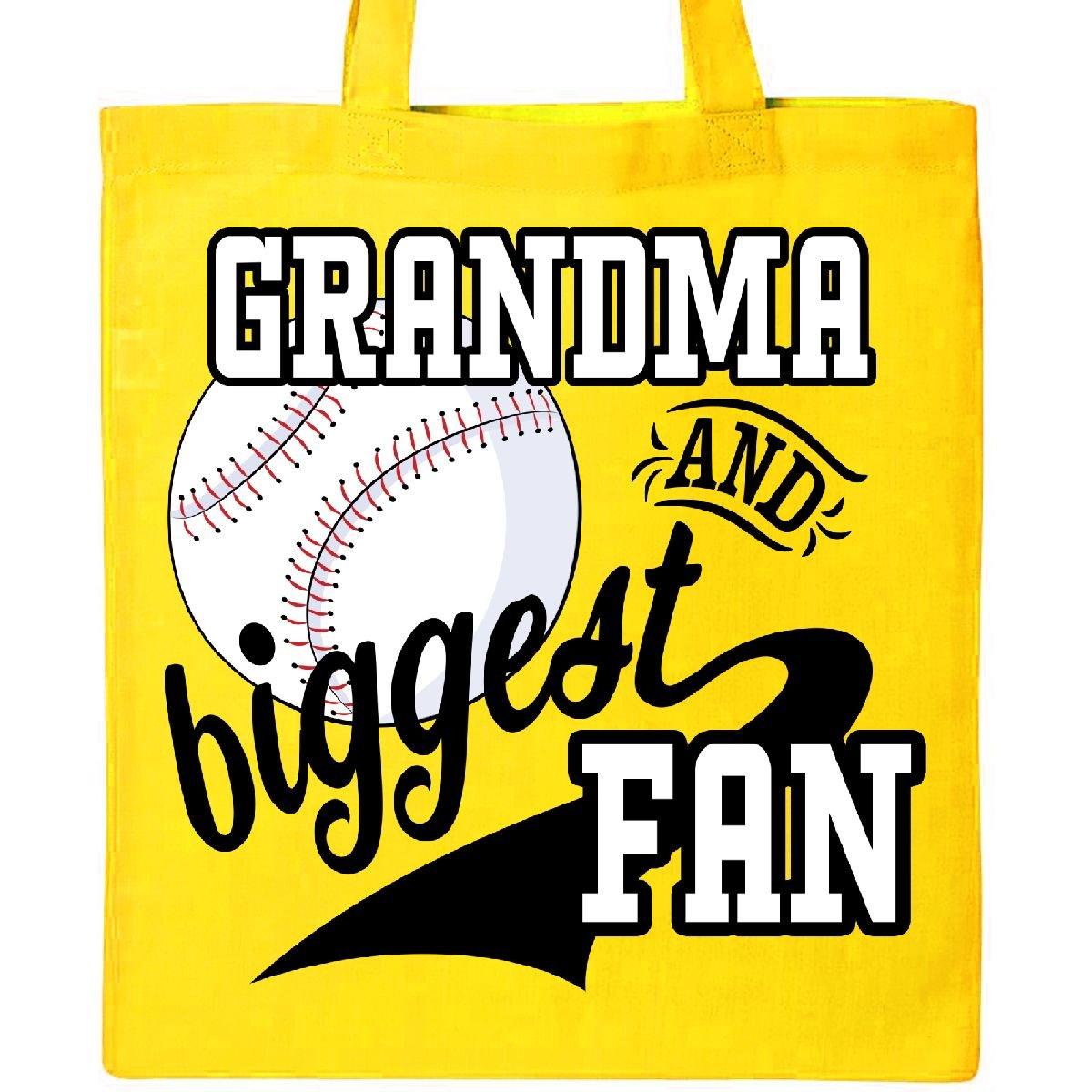InktasticとおばあちゃんBiggestファン – 野球ファミリファントートバッグ One Size イエロー B072MN64MY