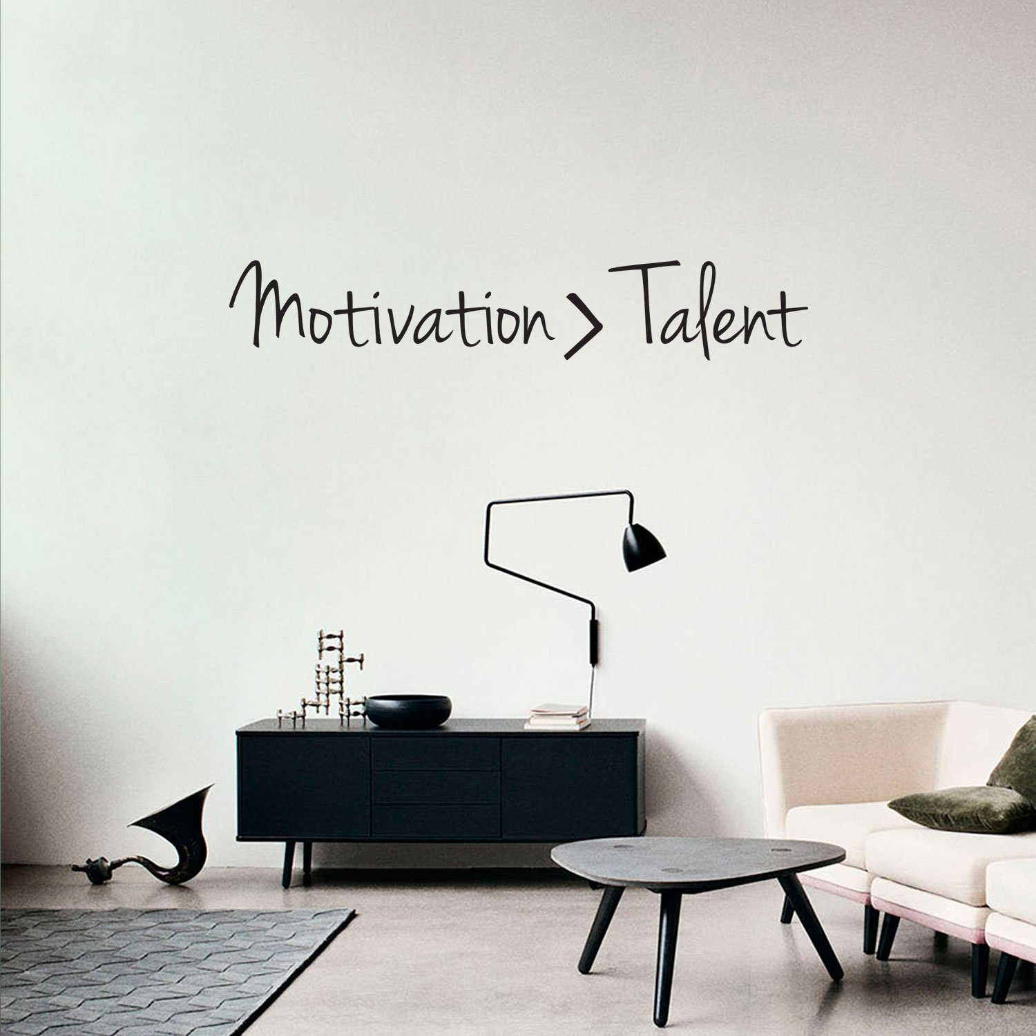 Inspirational Quotes Wall Art Decal - Motivation Is Greater Than Talent - 6'' x 40'' Work Office Wall Decals - Gym Fitness Wall Decal Stickers - Home Decor Sayings Wall Art Removable Lettering Decals by Pulse Vinyl (Image #1)
