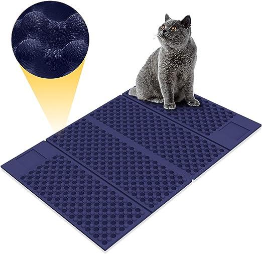 Zellar Alfombrilla para Gatos portátil (Grande)-Materias de alimentación de Gato de Doble Cara, atrapa-literas + a Prueba de Agua + Plegables + Goma de Espuma de EVA Suave no tóxica (Azul/Negro): Amazon.es: