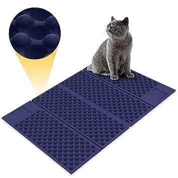 Zellar Alfombrilla para gatos portátil (grande)-Materias de alimentación de gato de doble cara, ...