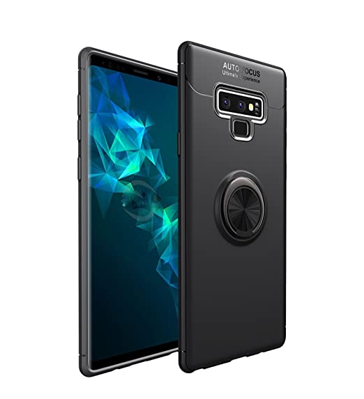HYAIZLZ Kickstand Galaxy Note 9 Case Soft TPU Hidden Kickstand Note 9 Back Case Cover with Car Magnet Function for Samsung Galaxy Note 9,Black Ring