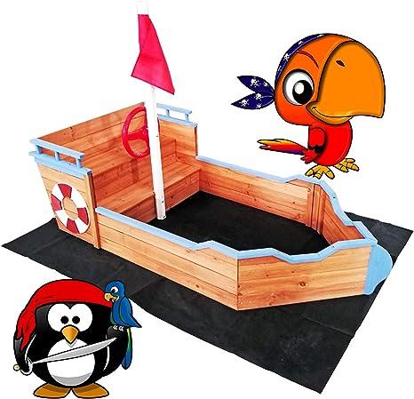 WilTec Arenero niños Forma Barco Madera 160x78x85cm Zona Juegos Infantil Jardín Terraza Exterior Jugar: Amazon.es: Deportes y aire libre