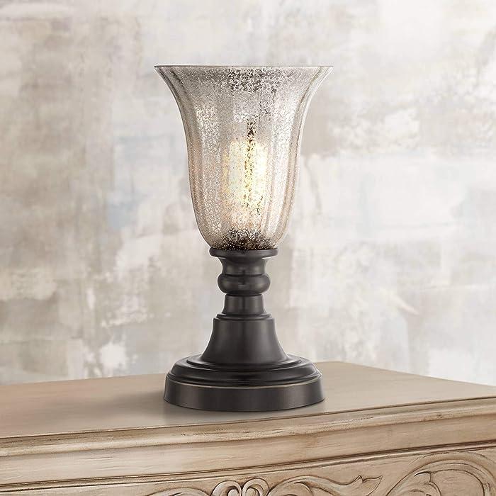"Isaac Traditional Uplight Desk Table Lamp 13"" High Dark Bronze Mercury Glass Shade for Bedroom Bedside Nightstand Office - Regency Hill"