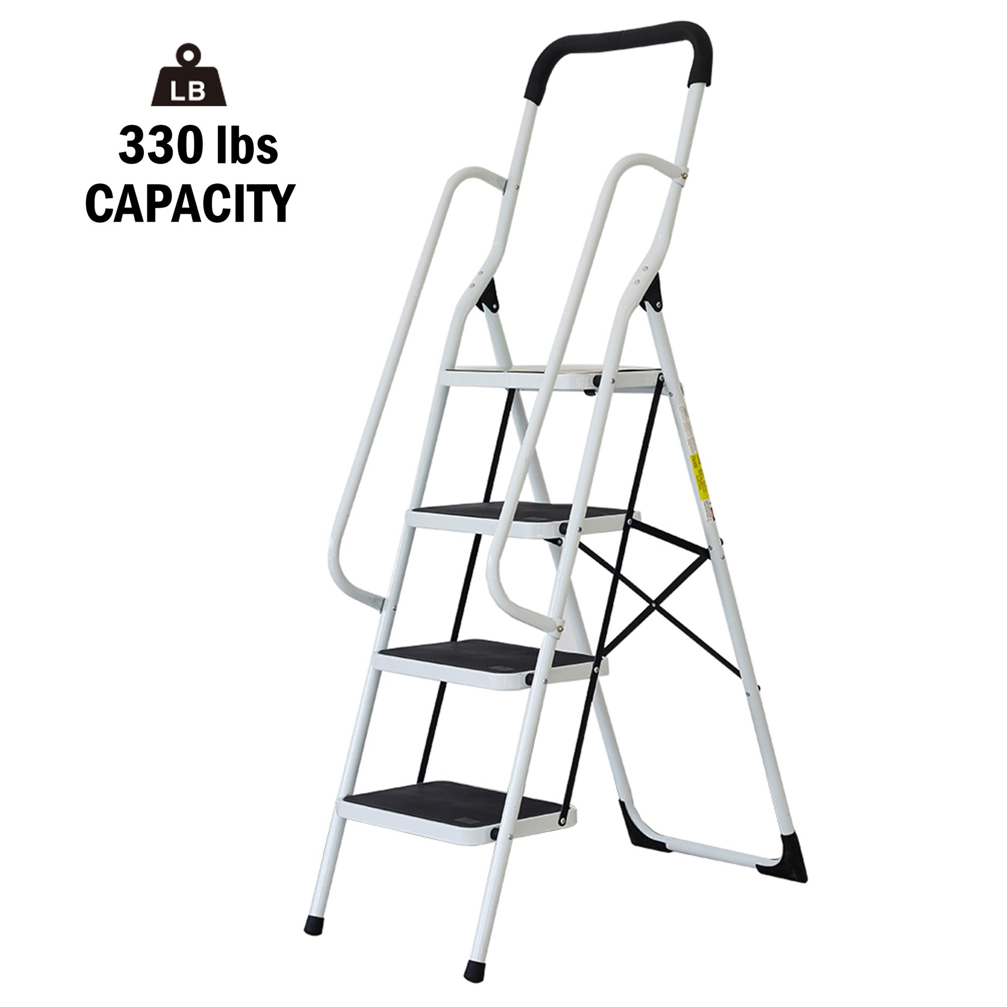 Lucky Tree Folding Step Ladder 4 Step Non-Slip Safety Step Stool with Side Handrailsand Large Pedal kitchen and Home Stepladder, 330 lbs Capacity
