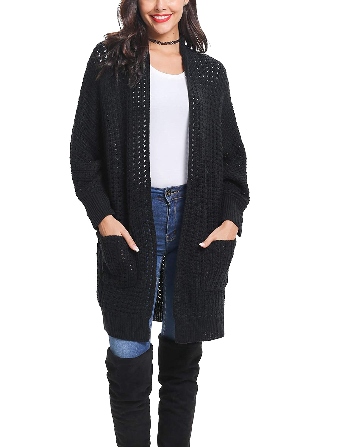 Black LYHNMW Women's Batwing Cardigan Sweater Long Sleeve Chunky Knit Cardigans Loose Casual Outerwear