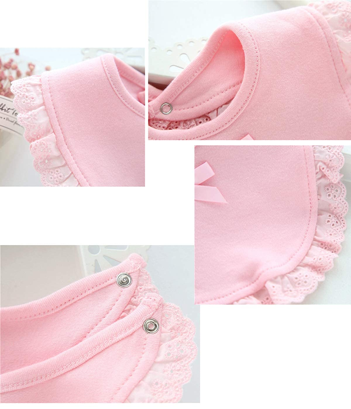 Newborn Baby Bibs With Bowknot Lace Unisex Bandana Toddler Infant Baptism Drool Bibs 0-1T