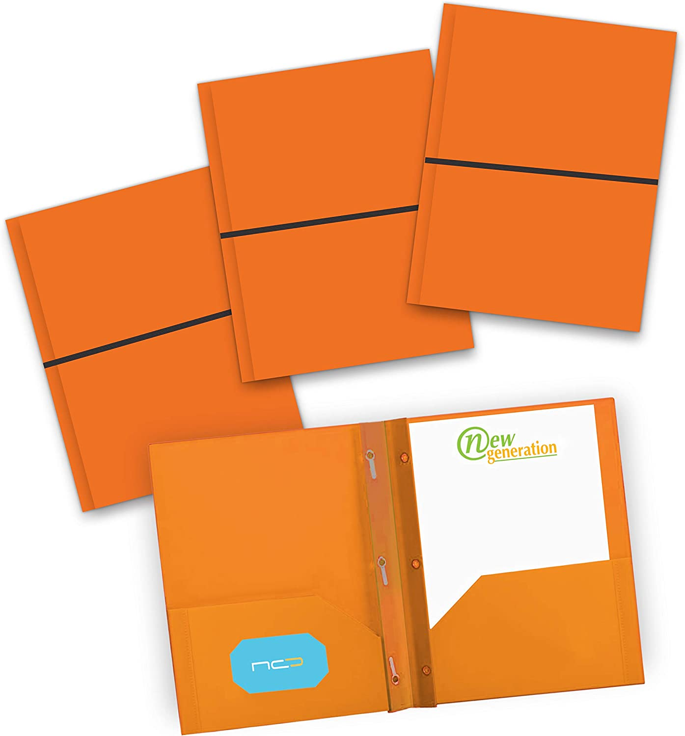 NEW GENERATION - 3 Prongs 2 Pocket Plastic Folders, Durable Heavy Duty Letter Size School Poly Portfolio with Elastic Band Closure and Business Card Slot, Use at Office or Storage – 3 Pack (Orange)