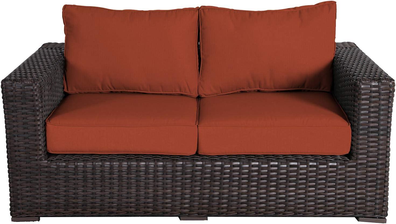 Amazon Com Santa Monica Outdoor Patio Furniture Love Seat Durable Wicker Rattan Includes Terracotta Sunbrella Cushions Kitchen Dining