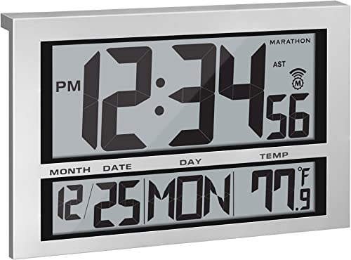 Marathon Commercial Grade Jumbo Atomic Wall Clock with 6 Time Zones, Indoor Temperature Date – Batteries Included – CL030025 Silver