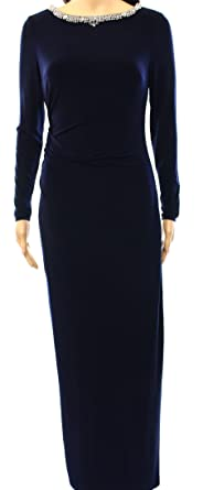 37b4a49768d Image Unavailable. Image not available for. Color  Lauren Ralph Lauren  Womens Ruched Rhinestone Evening Dress Navy 2