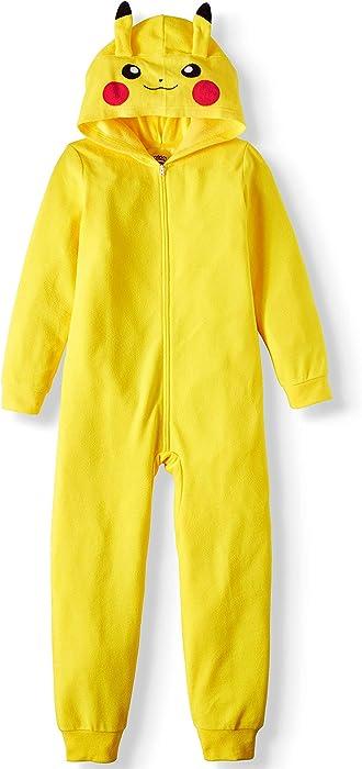 ef528bde3fae Amazon.com  AME Sleepwear Boy s Pikachu Hooded Union Suit Pajama ...