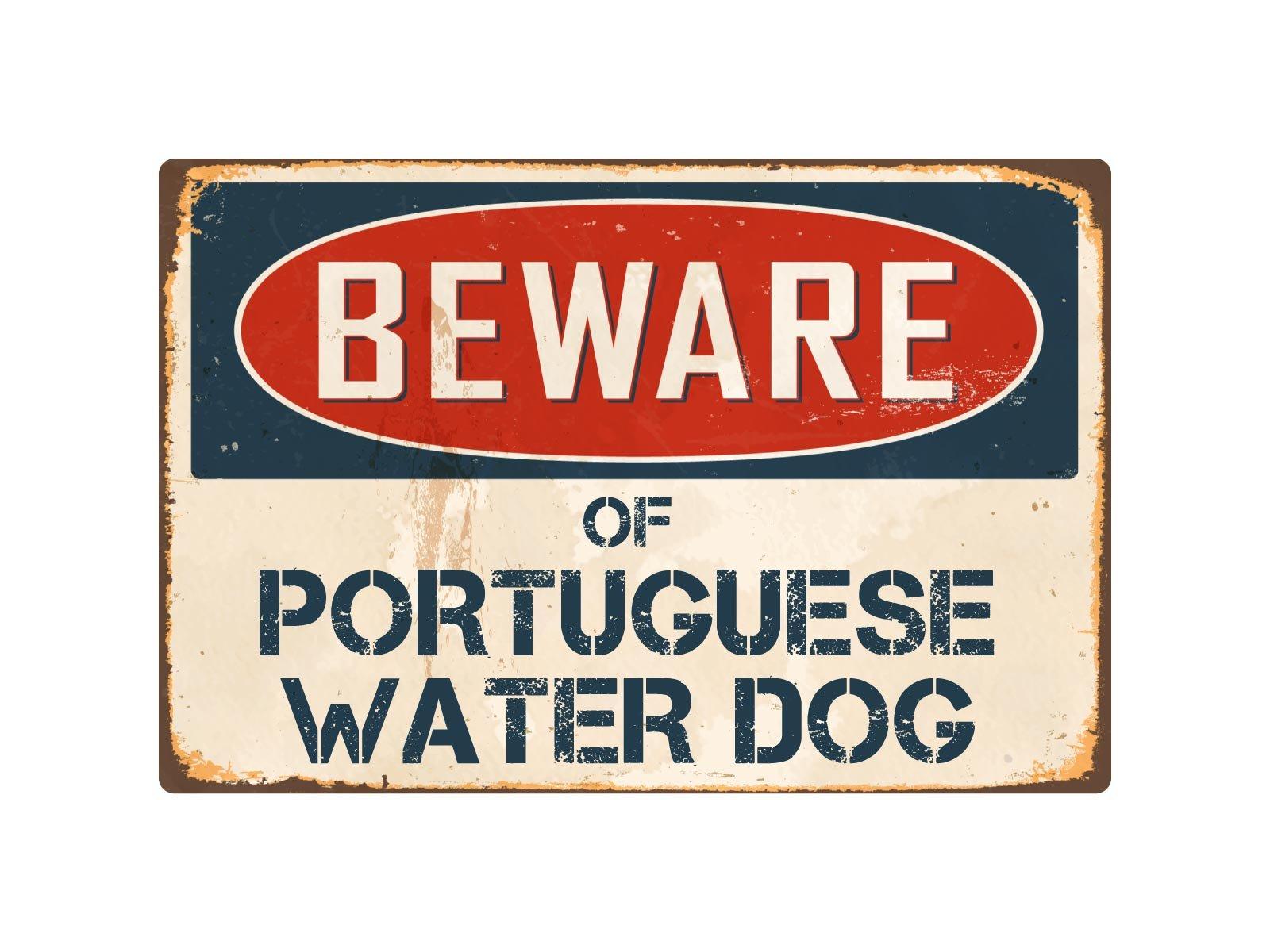 "StickerPirate Beware of Portuguese Water Dog 8"" x 12"" Vintage Aluminum Retro Metal Sign VS340 1"
